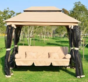 Balancín de jardín con mosquitera y cama
